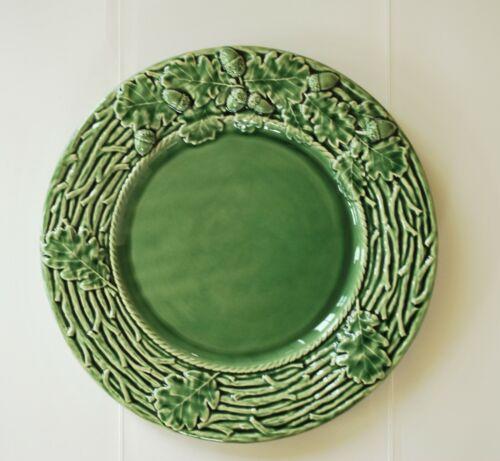 "Bordallo Pinheiro Acorn Green platter Chop Plate Portugal 13"" round leaves"