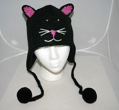 BLACK CAT HAT knit STITCH FACE halloween costume ADULT fleece lined unisex toque (Stitch Face Halloween Costume)