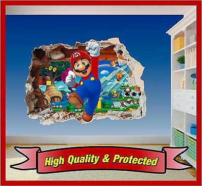 Super Mario Brothers Dekorationen (Super Mario Brothers Hole in Wall 3 - Print Vinyl Sticker Decal Children Bedroom)