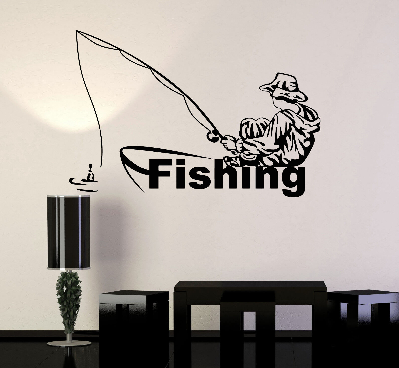 Vinyl Wall Decal Fishing Club Fisherman Boat Stickers Murals