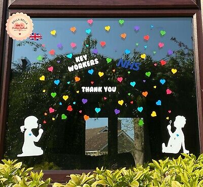 Girl Boy Blowing Hearts Window Stickers Rainbow Colours NHS Craft Set Hearts