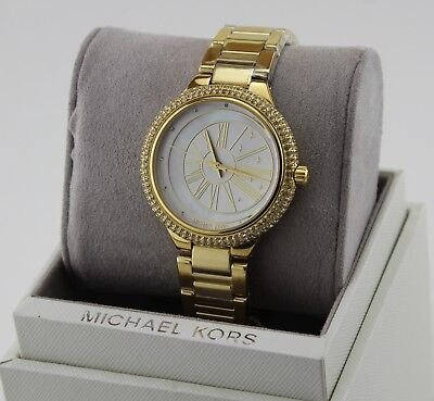 NEW AUTHENTIC MICHAEL KORS TARYN CRYSTALS GOLD MOP WOMEN'S MK6550 WATCH