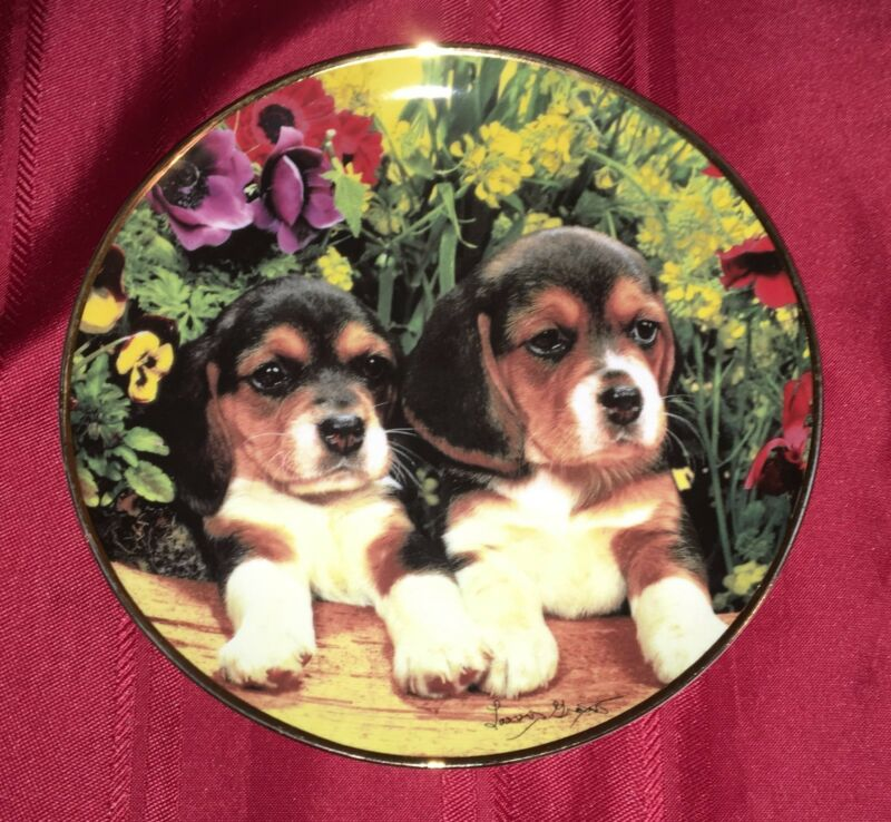 Franklin Mint Limited Edition Plate Puppies and Posies - Heirloom