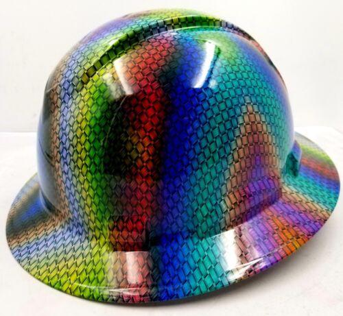 FULL BRIM Hard Hat custom hydro dipped MULTI COLOR BASKET WEAVE CARBON FIBER NEW 2