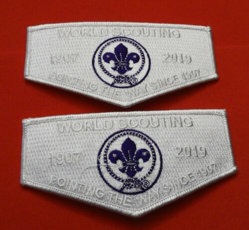TWO World Scouting Crest Flaps: SEMI-GHOST Issue - Since 1907