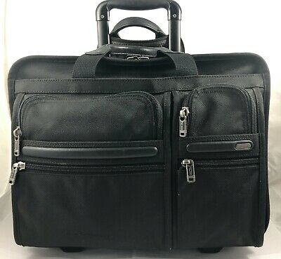Tumi Alpha Wheeled Deluxe Expandable Brief Luggage Leather Black 26104 Reg $545
