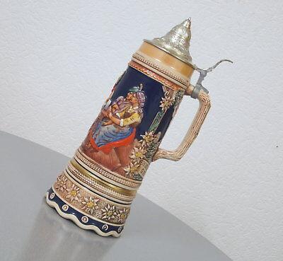 alter Steingut Bierkrug Bierseidel Humpen 1,2 Liter mit Spieluhr