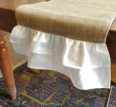 Natural Burlap Table Runner with White Double Linen Ruffles - Various Sizes