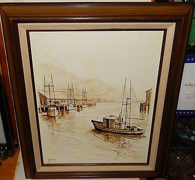 BONNIE GREGORY FISHING BOATS ORIGINAL ACRYLIC ON BOARD PAINTING LAGUNA BEACH