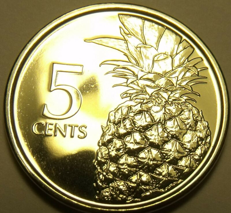 Gem Unc Bahamas 2015 5 Cents~Pineapple Coin~Free Shipping