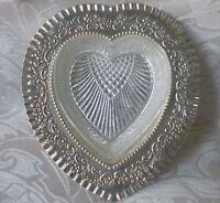 Burriera A Cuore Sheffield Electroplate E Vetro Pressato, Inghilterra 1880 Ca. -  - ebay.it