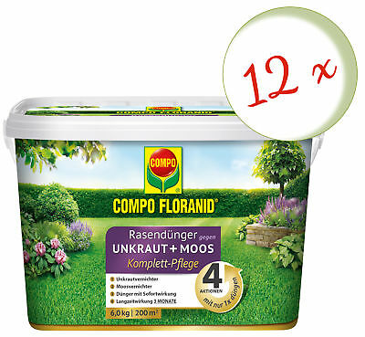 Sparset: 12 X Compo Floranid Lawn Fertilizer Against Weed + Moss Complete Care,6