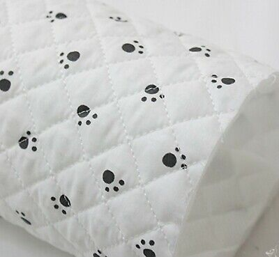 Quick Dog Costumes (Paw print Ready quilted Fabric cotton Pre-quilted padded Dog black white)