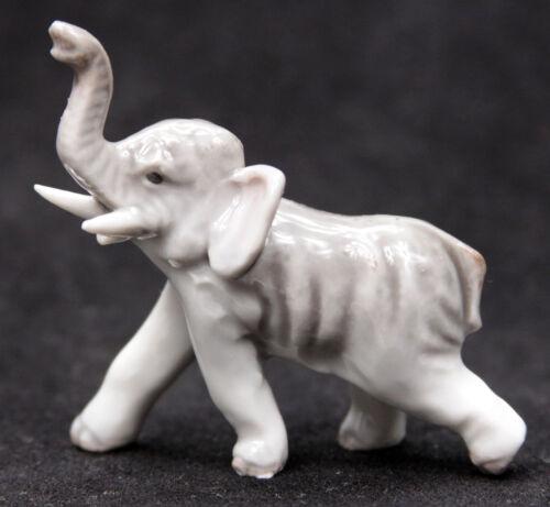Vintage Porcelain Elephant Marked Kyoto Japan Miniature Animal Figurine Old