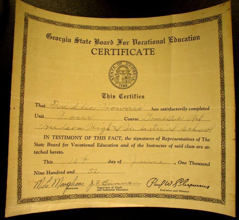 1932 Hudson High & Industrial School (Colored) Certificate  Macon Georgia