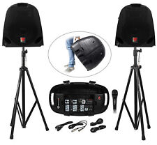 Rockville GB1 Portable Powered PA System W/ Mixer+Speakers+Stands+Mic DJ Package