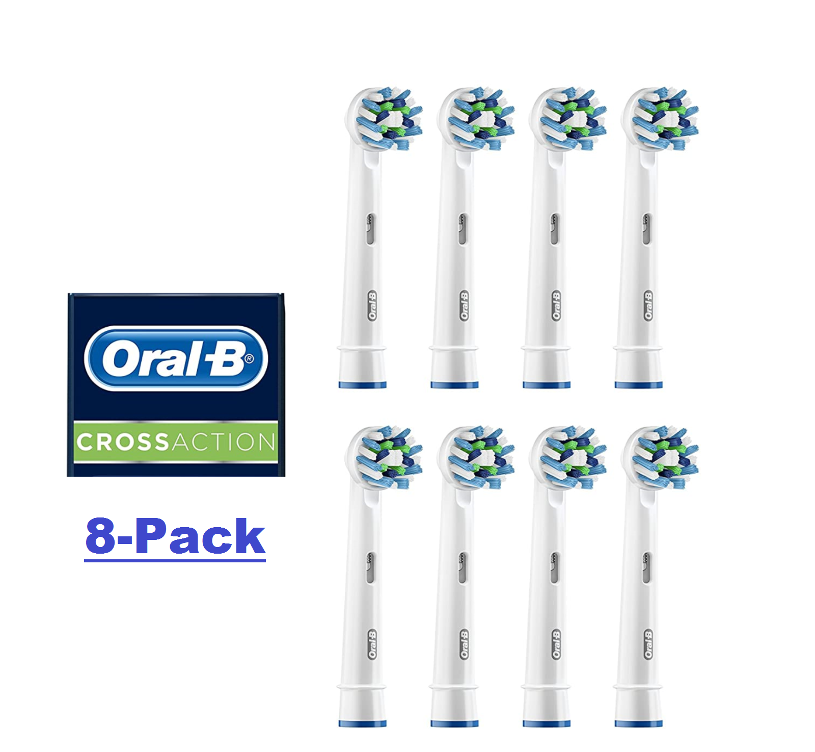 Oral-B Cross Action  Electric Toothbrush Replacement Brush Heads 8 Pack