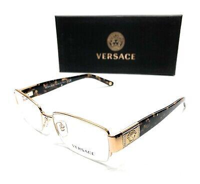 Versace VE1175B 1002 Gold Women's Rectangular Demo Lens Eyeglasses Frame 53-17