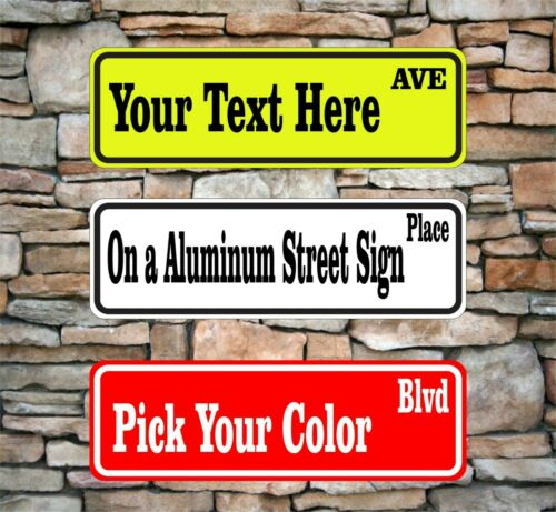"""New Custom Street Sign With Text Name Personalized 3"""" x 12"""" Aluminum Garage SQ48"""