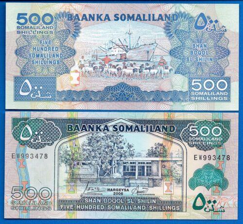Somaliland P-6f 500 Shillings Year 2006 Ships Uncirculated Banknote