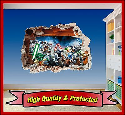 Lego Star Wars Hole in Wall - Printed Vinyl Sticker Decal Childrens Bedroom Boys