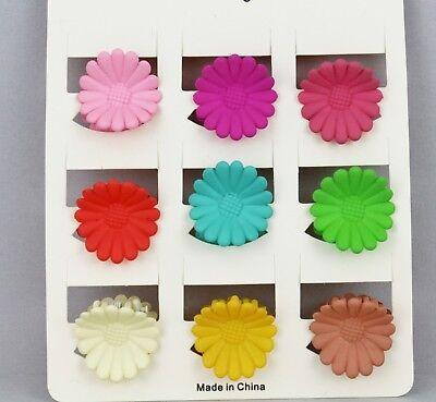 9 daisy hair clips barrette gerbera flower clip set of 9 multi color small 3/4