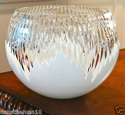 "FABERGE GLACON ANTARCTICA 8""H  BOWL, WHITE OPAL CASED CRYSTAL"