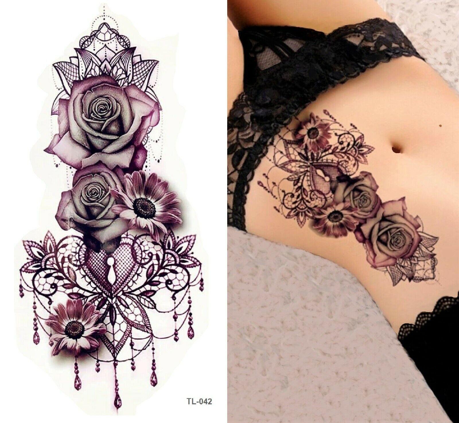 Temporäres Tattoo Rosen Wasserfest Körperkunst Einmal Blumen Rose Schwarz