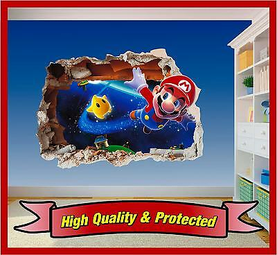 Super Mario Brothers Dekorationen (Super Mario Brothers Hole in Wall 4 - Print Vinyl Sticker Decal Children Bedroom)