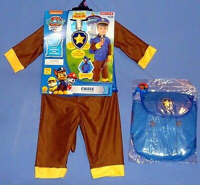 Chase Paw Patrol Costume 2T-3T;Policeman;Brown Dog;Hat-Pup Pack-Whistle-LOT-4