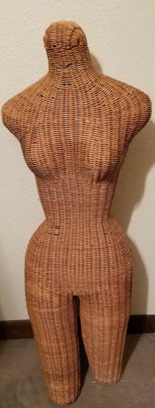 Life Size Vintage Wicker Mannequin Torso Body Rattan Manikin Dress Form Display