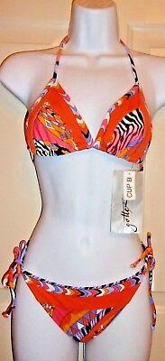 NEW  Gottex Silver Pop Art OpArt triangle top bikini Orange multi 10 & B ()