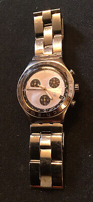 Swatch Chronograph Irony Silver / Black Watch Wristwatch Unisex Stainless Band