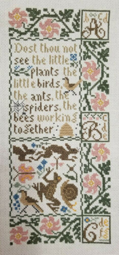 Prairie Schooler Finished Completed Cross Stitch Spring Sampler Bunny Flower Bee