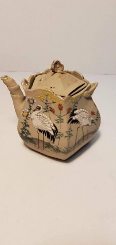 Japanese Banko Craine Pentagon Meiji Period Signed Teapot