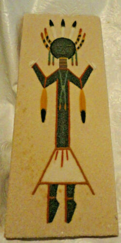 "Vintage Native American Sand Painting ""Talking God"", Ethel Toledo artist"