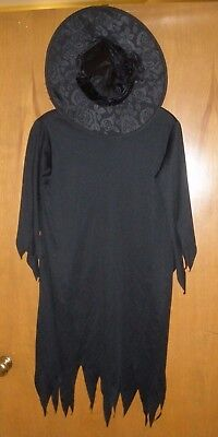 Witch Dress & Hat Childs Halloween Costume Witches Black Dress-up Fun EUC #F71 (Boy Witch Costume)