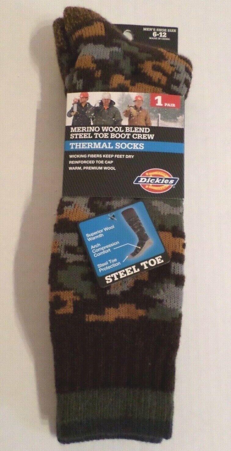 Dickies Mens Wool Blend Steel Toe Boot Crew Thermal Socks Br