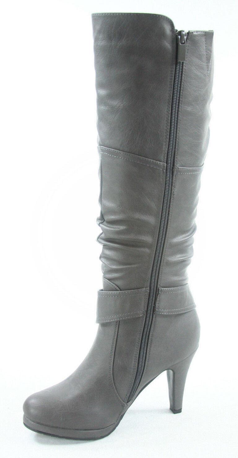 Women's  Round Toe High Heel Platform Mid-Calf  Knee High Boots Shoes Size 5 -11