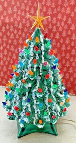 "Vintage Ceramic Christmas Tree & Base Holland Mold Lights Star Snow Flocked 18"""