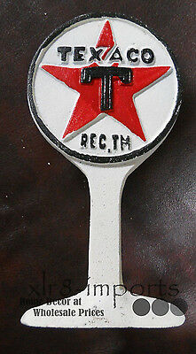 CAST IRON TEXACO GAS STATION LOLIPOP SIGN DISPLAY DOORSTOP PAPERWEIGHT - Gas Station Sign Display