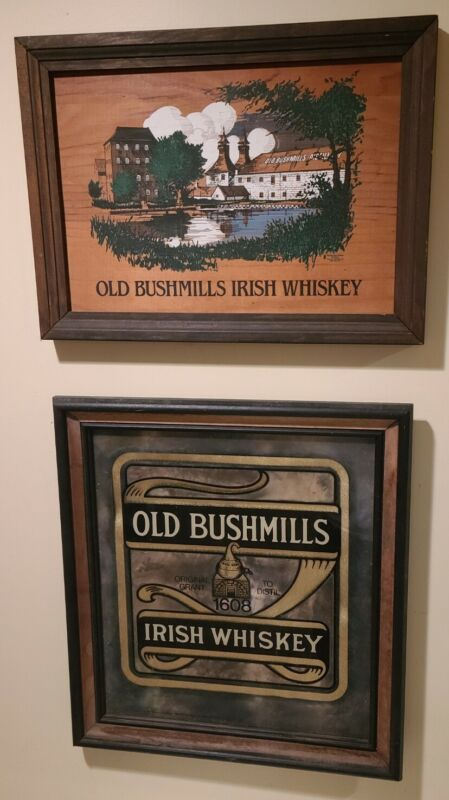 2 Vintage signs1608 BUSHMILLS IRISH WHISKEY MIRROR sign & wooden sign Bar