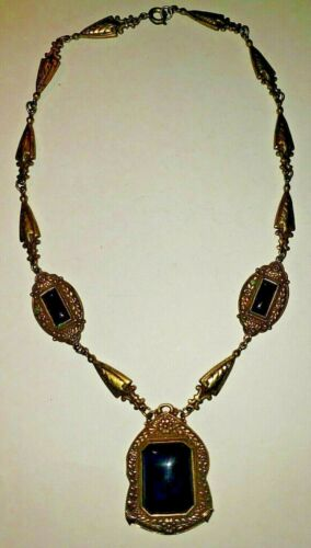 """Vintage Victorian Edwardian 16"""" GOLD pendant Blue Stones (LAPIS LAZULI?)NECKLACE"""