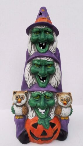 Triple Witch Jack O Lantern Owl Ceramic Candle Holder w/Box Hand Crafted & Paint