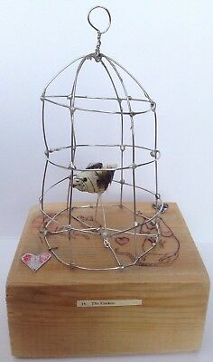 Birdcage Sculpture Wire and Wood Handmade.