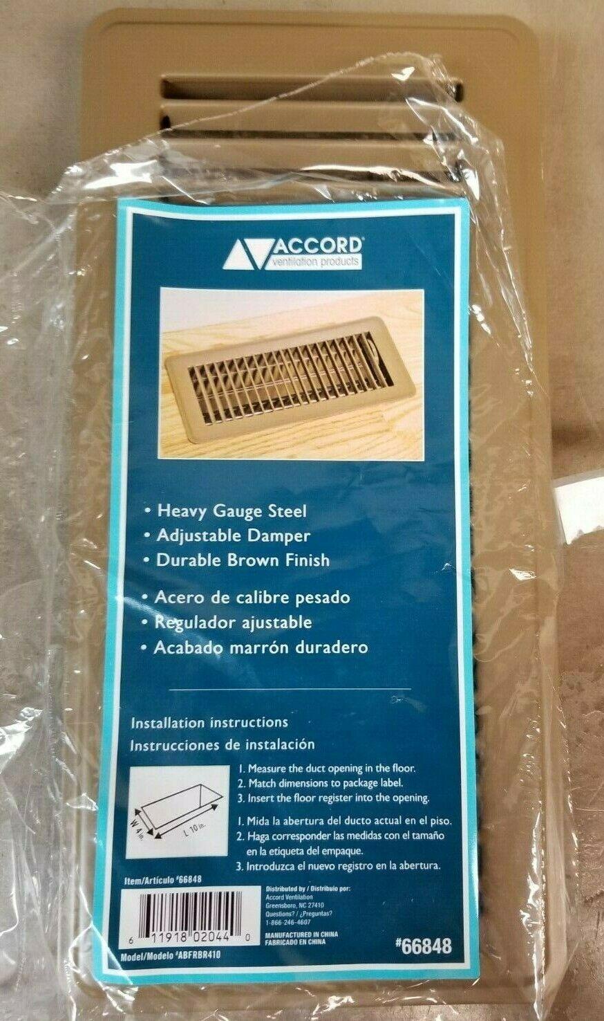 Accord Ventilation Brown Steel Floor Register 4 in. x 10 in.