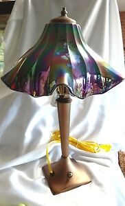 Fenton Art Glass Hand Painted Purple Carnival Lamp New MIB