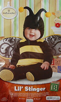 Lil Stinger Bee Costume 12 18 M Incharacter Hood Booties Wings Lined Dress Up](Bee Stinger Costume)