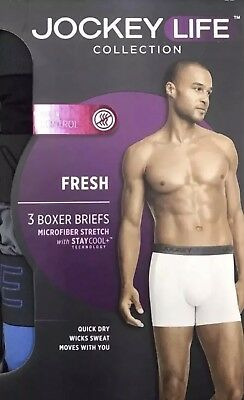 69e398552044 Used, Jockey Life Collection Men's Fresh Boxer Briefs 3-Pack Microfiber  Size Medium for