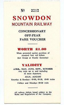 SNOWDON MOUNTAIN RAILWAY: CONCESSIONARY OFF-PEAK FARE VOUCHER, 1987.